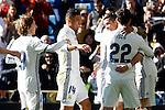 Real Madrid's Luka Modric, Carlos Henrique Casemiro and Cristiano Ronaldo celebrate goal during La Liga match. January 7,2016. (ALTERPHOTOS/Acero)