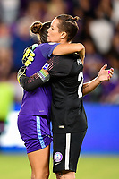 Orlando, FL - Saturday July 07, 2018: Ashlyn Harris, Monica Hickman Alves during the second half of a regular season National Women's Soccer League (NWSL) match between the Orlando Pride and the Washington Spirit at Orlando City Stadium. Orlando defeated Washington 2-1.