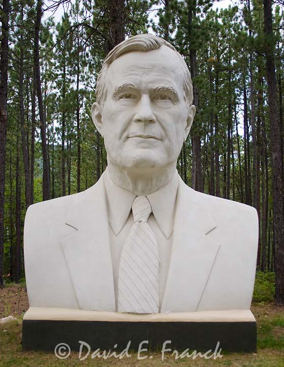 George H. W. Bush bust by sculptor David Adickes at Presidents Park in Lead South Dakota