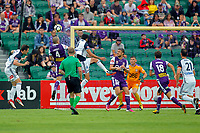 25th March 2018, nib Stadium, Perth, Australia; A League football, Perth Glory versus Melbourne Victory; Shane Lowry of the Perth Glory defends the cross with a header against Rhys Williams of Melbourne Victory