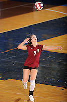 20 November 2008:  UALR defensive specialist Kehly MacDuff (7) serves during the New Orleans 3-1 victory over UALR in the first round of the Sun Belt Conference Championship tournament at FIU Stadium in Miami, Florida.
