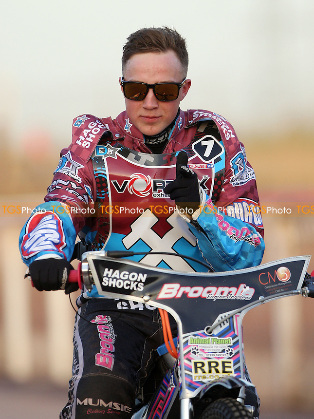 Robert Mear of Lakeside Hammers - Lakeside Hammers vs Kings Lynn Stars, Elite League Speedway at the Arena Essex Raceway, Pufleet - 23/04/13 - MANDATORY CREDIT: Rob Newell/TGSPHOTO - Self billing applies where appropriate - 0845 094 6026 - contact@tgsphoto.co.uk - NO UNPAID USE.