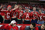 25 January 2015: NC State fans. The North Carolina State University Wolfpack played the University of Notre Dame Fighting Irish in an NCAA Division I Men's basketball game at the PNC Arena in Raleigh, North Carolina. Notre Dame won the game 81-78 in overtime.