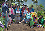 Maya women participate in a workshop at an eco-agricultural training center in Comitancillo, Guatemala. The center is sponsored by the Maya Mam Association for Investigation and Development (AMMID).