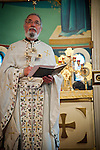 Fr. Stephen Tumbas reads during Christmas Liturgy Service, St. Sava Serbian Orthodox Church, Jackson, Calif.