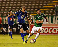 PALMIRA -COLOMBIA-01-03-2015. Andres Perez (Der) jugador del Deportivo Cali disputa un balón con Federico Insua (Izq) jugador del Millonarios durante partido por la fecha 7 de la Liga Aguila I 2015 jugado en el estadio Palmaseca de la ciudad de Palmira./  Andres Perez (R) player of Deportivo Cali fights the ball with Federico Insua (L) player of Millonarios during match for the 7th date of Aguila League I 2015 played at Palmaseca stadium in Palmira city Photo: VizzorImage/ Juan C. Quintero /STR