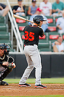 Lucas Herbst (35) of the Delmarva Shorebirds at bat against the Kannapolis Intimidators at CMC-Northeast Stadium on August 8, 2013 in Kannapolis, North Carolina.  The Shorebirds defeated the Intimidators 4-3.  (Brian Westerholt/Four Seam Images)