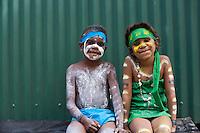 Indigenous boy and girl at the Laura Aboriginal Dance Festival.  Laura, Queensland, Australia