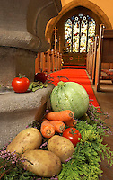 Church ready for harvest festival, Whitewell Church, Lancashire.