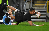 9th September 2017, Yarrow Stadium, New Plymouth. New Zealand; Supersport Rugby Championship, New Zealand versus Argentina; Vaea Fifita scores a try for the All Blacks