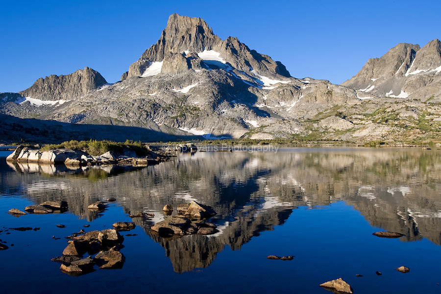 Mt. Banner, Mt. Ritter, and Thousand Islands Lake, Sierra Mountains, California.