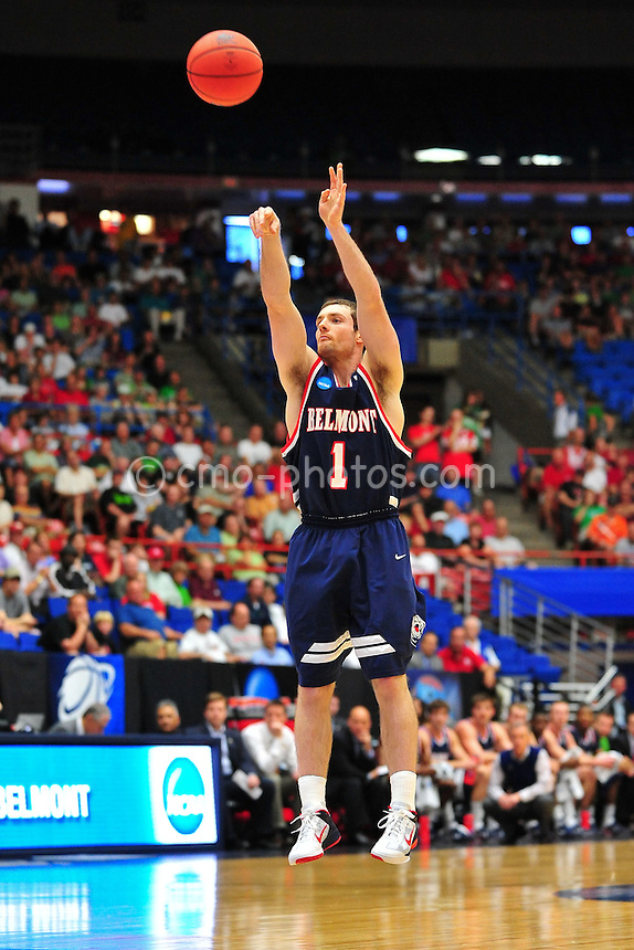 Mar 17, 2011; Tucson, AZ, USA; Belmont Bruins guard Drew Hanlen (1) shoots the ball in the first half of a game against the Wisconsin Badgers in the second round of the 2011 NCAA men's basketball tournament at the McKale Center.