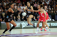 15.09.2018 Silver Ferns Elisapeta Toeava in action during Silver Ferns v England netball test match at Spark Arena in Auckland. Mandatory Photo Credit ©Michael Bradley.