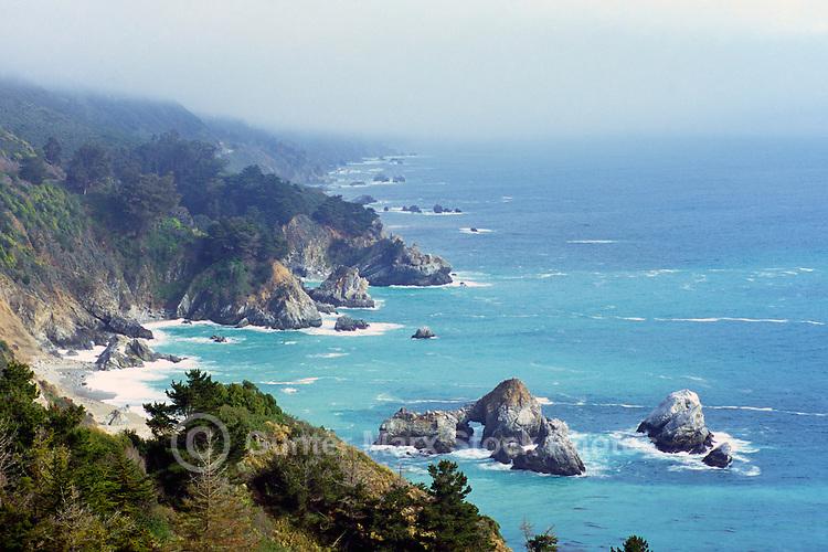 Rugged Coastline at Julia Pfeiffer Burns State Park, Big Sur, California, USA - along Pacific Coast Highway 1