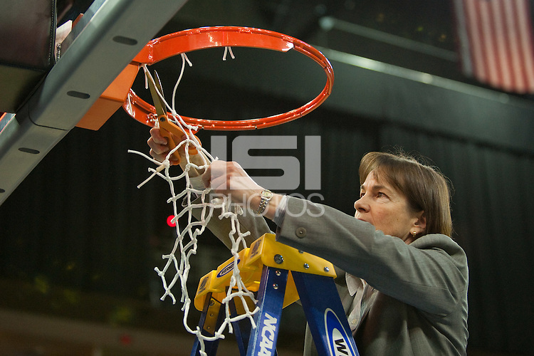 FRESNO, CA--Head Coach Tara VanDerveer cuts the net after  a 81-69 win over Duke at the Save Mart Center for the West Regionals Championship of the 2012 NCAA Championships. The Cardinal advances to the Final Four in Denver, facing Baylor in the semifinals.
