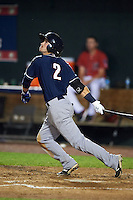 New Hampshire Fisher Cats outfielder Ian Parmley (2) at bat during a game against the Harrisburg Senators on July 21, 2015 at Metro Bank Park in Harrisburg, Pennsylvania.  New Hampshire defeated Harrisburg 7-1.  (Mike Janes/Four Seam Images)