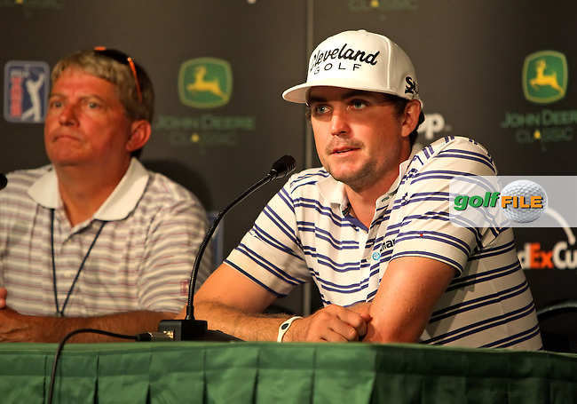 10 July13  Keegan Bradley meets the press after Wednesdays practice Round at The John Deere Classic at The TPC Deere Run in Silvis, Illinois. Conducting the interview is PGA Tour Official Joe Chemycz. (photo:  kenneth e.dennis / kendennisphoto.com) www.golffile.ie