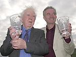 Veteran RTE broadcaster Ciaran MacMathuna, left, received the Oireachtas Hall of Fame award while  TG4 'Tadhg' actor Mac Dara  O' Fatharta  received the Oireachtas Television Media award at the Oireachtas na Gaeilge Halloween Festival in Dingle on Friday.<br />Pic: MacMonagle, Killarney