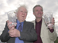 Veteran RTE broadcaster Ciaran MacMathuna, left, received the Oireachtas Hall of Fame award while  TG4 'Tadhg' actor Mac Dara  O' Fatharta  received the Oireachtas Television Media award at the Oireachtas na Gaeilge Halloween Festival in Dingle on Friday.<br />