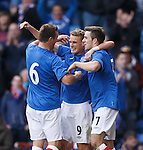 Dean Shiels celebrates after scoring his second goal