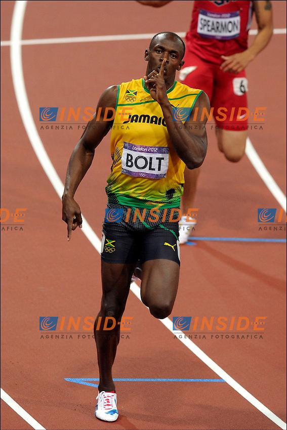 Usain Bolt ( JAM )..Joie .Olimpiadi Londra 2012.London 2012 Olympic Games.foto Insidefoto - Italy ONLY