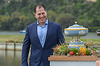 Michael Dell, CEO of Dell Technologies looks over The Walter Hagen Cup before presenting it to Bubba Watson (USA) following the World Golf Championships, Dell Match Play, Austin Country Club, Austin, Texas. 3/25/2018.<br /> Picture: Golffile | Ken Murray<br /> <br /> <br /> All photo usage must carry mandatory copyright credit (&copy; Golffile | Ken Murray)