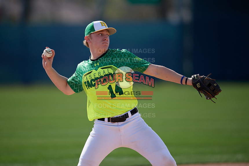 Cameron Carr during the Under Armour All-America Pre-Season Tournament, powered by Baseball Factory, on January 19, 2019 at Fitch Park in Mesa, Arizona.  Cameron Carr is a third baseman / second baseman from Roseville, California who attends Woodcreek High School.  (Mike Janes/Four Seam Images)