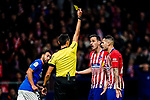 Nikola Kalinic of Atletico de Madrid reacts as referee Jose Maria Sanchez Martinez shows him the yellow card during the La Liga 2018-19 match between Atletico de Madrid and Athletic de Bilbao at Wanda Metropolitano, on November 10 2018 in Madrid, Spain. Photo by Diego Gouto / Power Sport Images