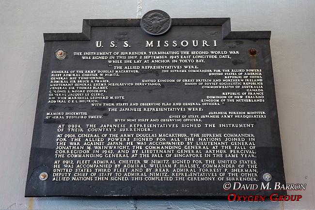 Armistice Signing Plaque, The USS Missouri, Pearl Harbor
