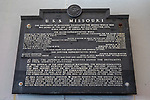 Armistice Signing Plaque, The USS Missouri, Pearl Harbor