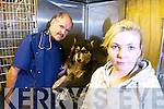 Vicki Kennelly from Shanakill, Richard Hurley Veterinary Surgeon and Vicki's dog Neeko who was attacked, pictured at Hurley's Veterinary Hospital on Monday.