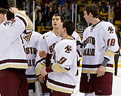 (Orpik, Margolin) Mike Brennan (BC 4), Dan Bertram (BC 22), Nate Gerbe (BC 9), Kyle Kucharski (BC 18) - The Boston College Eagles defeated the Harvard University Crimson 6-5 in overtime on Monday, February 11, 2008, to win the 2008 Beanpot at the TD Banknorth Garden in Boston, Massachusetts.