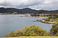 View of Paihia from the Waitangi Treaty Grounds, north island, New Zealand.