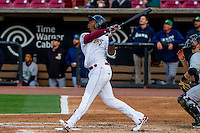 Wisconsin Timber Rattlers outfielder Monte Harrison (3) at bat during a Midwest League game against the Clinton LumberKings on May 9th, 2016 at Fox Cities Stadium in Appleton, Wisconsin.  Clinton defeated Wisconsin 6-3. (Brad Krause/Four Seam Images)