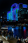 Thirty-four massive video projectors illuminate the side of the Merchandise Mart in downtown Chicago during the opening performance of Art on theMart, Sept. 29, 2018. The curated digital art installation is projected across 2.5 acres of the Southside of the building every Wednesday through Sunday at 7:15pm for two hours through December 30, 2018.(DePaul University/Jamie Moncrief)