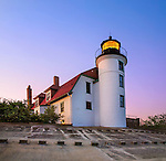 The Historic Point Betsie Lighthouse On A Clear Lake Michigan Morning At Sunrise, Michigan's Lower Peninsula, USA