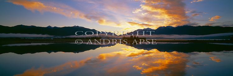 Sunset over Lake Te Anau. Southland New Zealand.