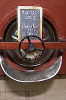 tank door sign on tank  monestier domaine giraud chateauneuf du pape rhone france