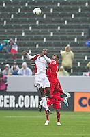 CARSON, CA - March 25, 2012: Jamal Gay (9) of Trinidad & Tobago and Harold Cummings (3) of Panama during the Panama vs Trinidad & Tobago match at the Home Depot Center in Carson, California. Final score Panama 1, Trinidad & Tobago 1.
