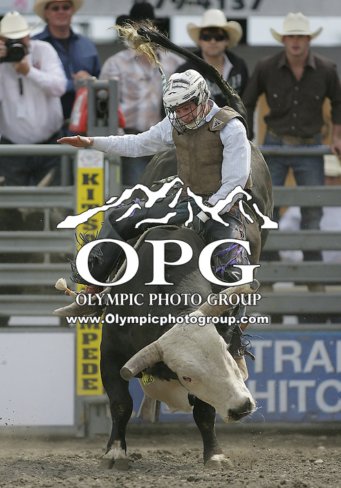 29 Aug 2010: Stormy Wing riding the bull Transformer scored a 78 during the first round of the Seminole Hard Rock Extreme Bulls competition at the Kitsap County Stampede in Bremerton, Washington.
