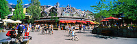 Summer Activities at Whistler Village Square, Whistler Ski Resort, BC, British Columbia, Canada - Panoramic View