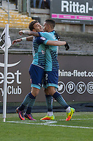 Scott Kashket of Wycombe Wanderers celebrates scoring his side's first goal with Paris Cowan-Hall during the Sky Bet League 2 match between Plymouth Argyle and Wycombe Wanderers at Home Park, Plymouth, England on 26 December 2016. Photo by Mark  Hawkins / PRiME Media Images.