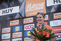 on podium after finishing 3th place: Megan Guarnier (IUSA/Boels dolmans)<br /> 21st La Fl&egrave;che Wallonne Femmes <br /> 1 day race: Huy - Huy (118,5KM)