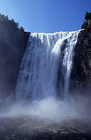Cascading waters of the Montmorency Falls at summer, Quebec, Canada.