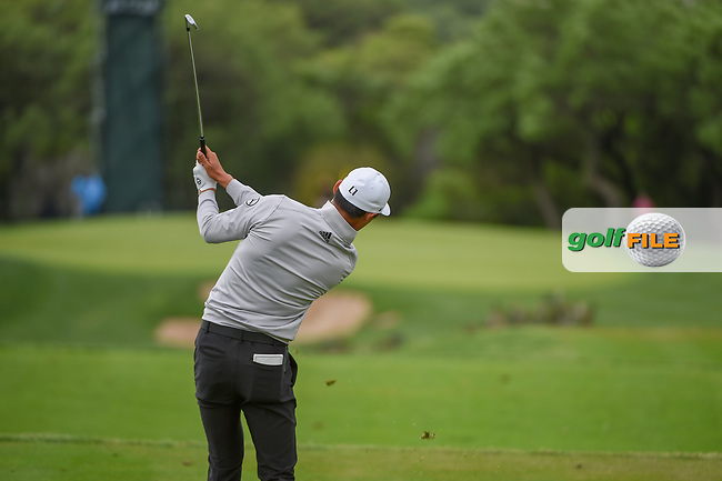 HaoTong Li (CHN) hits his tee shot on 13 during day 4 of the Valero Texas Open, at the TPC San Antonio Oaks Course, San Antonio, Texas, USA. 4/7/2019.<br /> Picture: Golffile | Ken Murray<br /> <br /> <br /> All photo usage must carry mandatory copyright credit (© Golffile | Ken Murray)