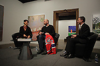 January 21, 2014 - Nathalie Bondil (L) and Scottish painter Peter Doig (M) after he receive a Montreal Canadien jersey from formers players juste before the news conference for<br /> NO FOREIGN LAND - NULLE TERRE ETRANGERE,  his first North-American major Retrospective, held at Montreal Museum of Fine Arts, january 25 to May4, 2014.