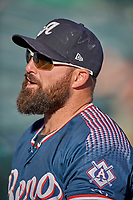 Cody Decker (17) of the Reno Aces before the game against the Salt Lake Bees at Smith's Ballpark on June 26, 2019 in Salt Lake City, Utah. The Aces defeated the Bees 6-4. (Stephen Smith/Four Seam Images)