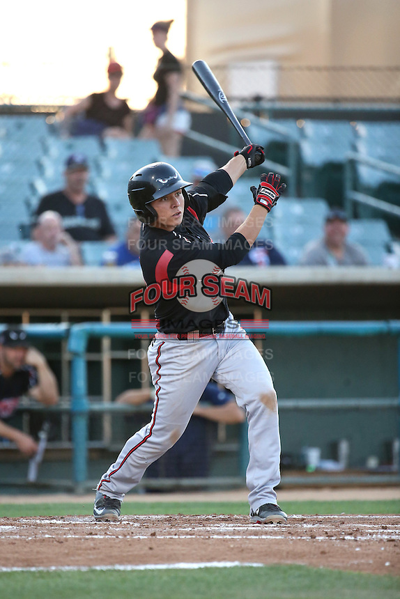 Luis Urias (3) of the Lake Elsinore Storm bats against the Lancaster JetHawks at The Hanger on August 2, 2016 in Lancaster, California. Lake Elsinore defeated Lancaster, 10-9. (Larry Goren/Four Seam Images)