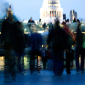 Rush Hour on Millennium Bridge with St. Paul's Cathedral