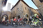 Riders roll out for the start of the 2015 Strade Bianche Eroica Pro cycle race running 200km over the white gravel roads from San Gimignano to Siena, Tuscany, Italy. 7th March 2015<br /> Photo: ANSA/Daniel Dal Zennaro/www.newsfile.ie